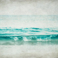 "Ocean photograph - beach photography aqua blue teal waves photo sea shore ocean seashore ocean photograph ""Aquatic"""