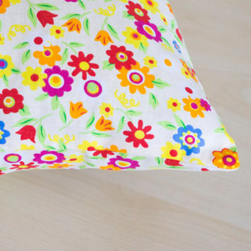 Colorful Floral Decorative Pillow,Throw Cover, Handmade Pillow Cover, Home Decor Pillow, Flower Pillow, Multicolor Cushion