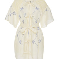Smocked Linen Mini Dress | Moda Operandi