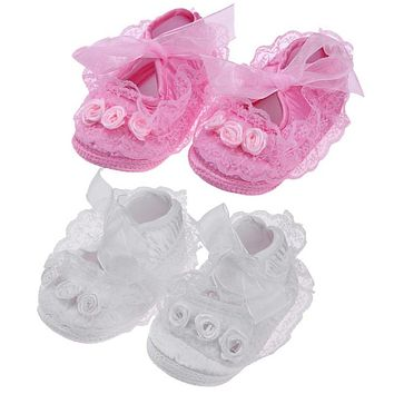Spring Baby Girls Lace Floral Shoes Cotton Infant Toddlers Soft Sole Anti-Slip Flower Lace Princess First Walkers