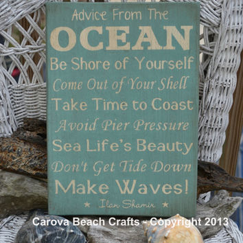 Beach Decor - Beach Sign - Advice From The Ocean - Wood Wall Hanging - Coastal - Nautical - Beach Theme