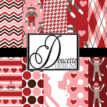 Instant Download-Valentine's Day Love Sock Monkey Red Pink White Digital Scrapbooking Paper Pack Personal and Commercial Use