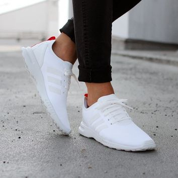 huge selection of 81ba8 06e36 ADIDAS ZX FLUX SMOOTH W (CORE WHITE / CORE WHITE / TOMATO)
