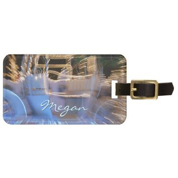 Princess gold coach photo custom name luggage tag