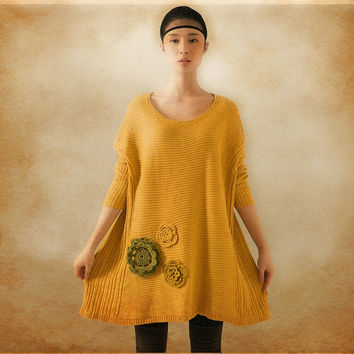 Yellow Wool Blouse / loose sweater / winter tunic top / casual style