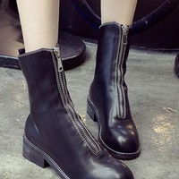Black Round Toe Zip Front Lather Look Boots
