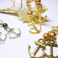 Antique Gold Anchor Dangles, Antique Gold  Nautical Jewelry,  Nautical Earrings, Nautical Wedding, Beach Wedding, Sailor Jewelry,