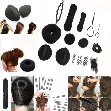 1Set Sponge Disk Hair Pull Hair Pin Head To Weave Hairstyle Hairdresser's Styling Braid DIY Rubber Band Accessory for Hair Clips