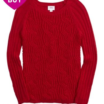 SOLID CABLE KNIT SADIE SWEATER | GIRLS CLOTHES NEW ARRIVALS | SHOP JUSTICE