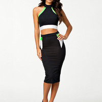 Black Halter Cropped Top and Bodycon Midi Skirt Dress