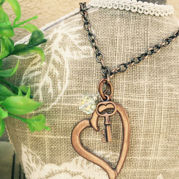 COPPER plated HEART Key Necklace