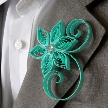 Spa Green Boutonniere, Sea Green Buttonhole, Sea Foam Wedding Boutonniere, Spa Wedding