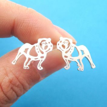 Unique Bulldog Dog Shaped Cut Out Stud Earrings in Silver | Animal Jewelry