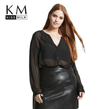 Kissmilk Plus Size Semi Sheer V Neck Button Down Stretchy Women Shirt Long Sleeve Solid Black Breathable Shirt Large Size Shirt