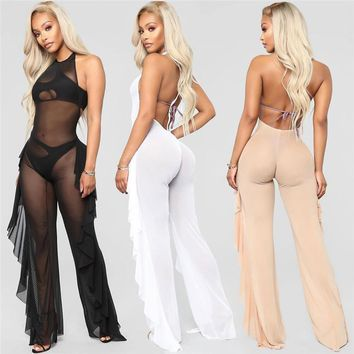 Sexy Sheer Black Mesh Jumpsuit Romper Women Open Back Backless Side Ruffle Halter Nightclub Party See Through Jumpsuit Overalls