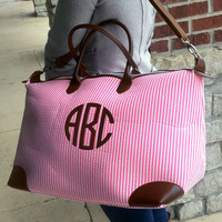 Champ PINK Seersucker Weekender Bag Monogram Font shown INTERLOCKING in bright pink