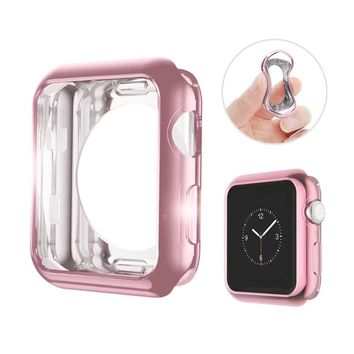HILIMNY Hailan Case For Apple Watch,Flexible Slim Lightweight Plated TPU Shock Absorption Anti-Scratch Protective Cover Case (Not Cover the Screen) for Apple Watch Series 1 / 2 / 3,38mm,Rose Gold