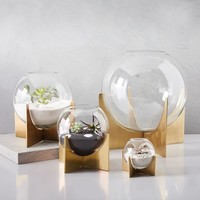 Cross Base Terrariums - Brass