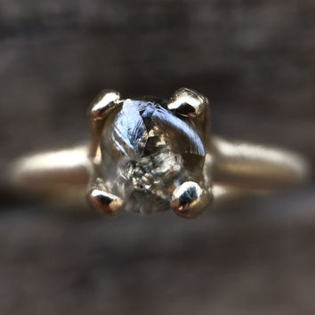 Champagne Rough Diamond in 14k brushed white gold - Ready to ship