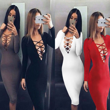 Vestidos Cotton Women Tie Up Autumn Bodycon Party Dress Sexy Deep V Neck Criss Long Sleeve Night Club Bandage Dress