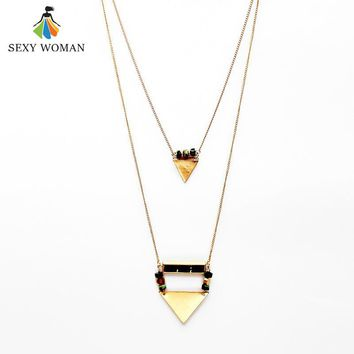 SEXY WOMAN Fashion 2 layer Pendant Necklace Vintage Gold color Triangle Metal Natural Stone Bead Necklace Jewelry Gift for Women