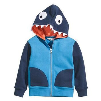[Bosudhsou.] dm-3 Children Clothing Crocodile Dinosaur Kids Boys Jackets Lull Sleeve Hooded Coats Zipper Sweatershirt Outerwear