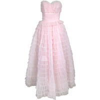 1950s Strapless Pink Shelf Bust Layers of Ruffles Ballerina Formal Wedding Prom Dress