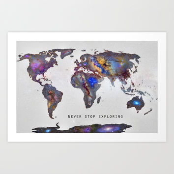 """Star map. Never stop exploring...II"". World map. Art Print by Guido Montañés"