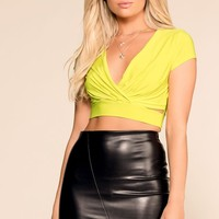 Got It Twisted Lime Crop Top
