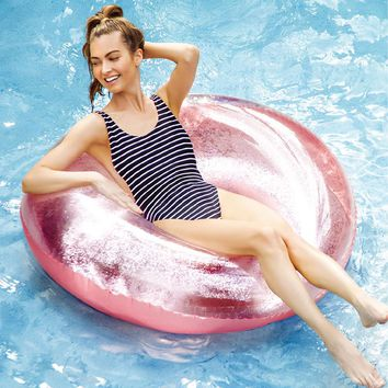 110CM Inflatable Swimming Ring With Colorful Glitters Sequins 2018 New  Women Luxury Swimming Tube Water Inflatable Toys Piscina