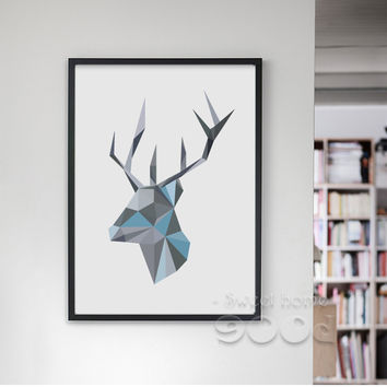 Geometric Deer Head Canvas Art Print Painting Poster, Wall Pictures For Home Decoration, Frame not include YE108