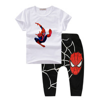 Spiderman Kids Clothes Summer Summer 2017 Children Costume boys clothes fashion toddler boys clothing sets Organic cotton T601