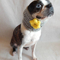 Grey dog Cowl scarf  hand crocheted neck warmer with yellow flower  Boston Terrier
