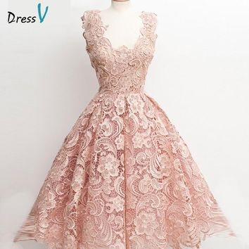 Dressv pink mini/above knee lace A-line cocktail dress 2017 V-neck sleeveless zipper up short cocktail dress homecoming dress