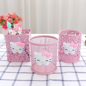 Hello Kitty Pink Hollow Pencil Holder Desktop Storage Box Metal Pen Holder Cute Student Fashion Office Supplies C
