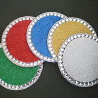 Glitter & Bling Drink Coasters - Sparkling Christmas Coasters in Red,Green,Sapphire,Gold,Silver- Set of 2- Mix n Match Holiday Decor