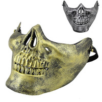 Skeleton Skull Halloween Mask Half Face Airsoft Paintball Protective Scary Mask 3Colors 10pcs/lot