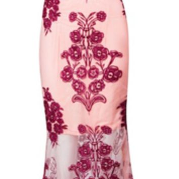 Cooper Lace Embroidered Two Piece Maxi Dress Set - Wine Red