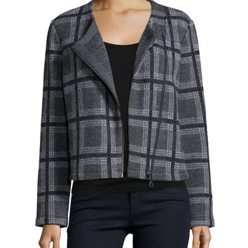 Etesse Plaid Wool-Blend Jacket, Size:
