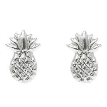 SOLID 14K WHITE GOLD HAWAIIAN PINEAPPLE STUD POST EARRINGS SMALL 7MM