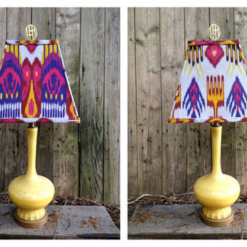 Yellow Vianne Glass Lamp With Handmade Cotton Ikat Shade