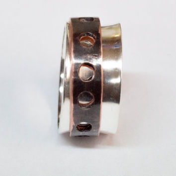 Mens spinner ring,Sterling silver and copper spinner ring,Kinetic spinner,Mens worry ring,Meditation ring,Spin ring,Custom mens ring,Unique