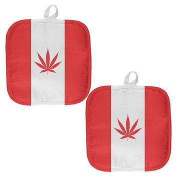 ESBGQ9 Canada Flag Pot Leaf Marijuana All Over Pot Holder (Set of 2)