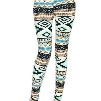 Aqua Mint Blue Green Summer Leggings Tribal Aztec Pattern- Yoga Leggings - Yoga Tights - Workout Leggings - Art Leggings - Running Leggings