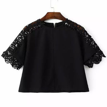 Black Crew Neck Hollow Crochet Crop Blouse