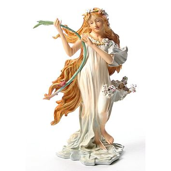 Spring Maiden with Long Red Hair Statue from Four Seasons by Mucha 8.5H