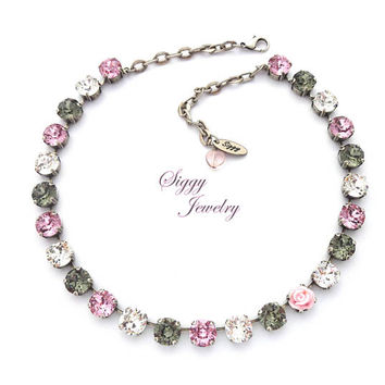Swarovski Crystal Necklace, 10mm Light Rose, Clear, Black Diamond, Light Pink Flower Accent, STARDUST SPARKLE, Gift Packaged