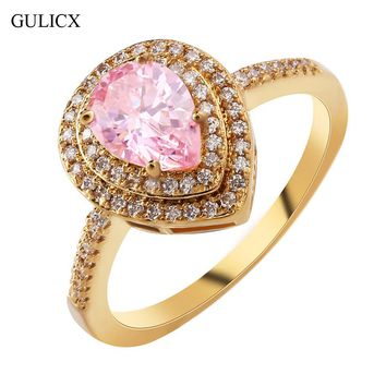 GULICX 2017 New Fashion Double Halo Finger Ring Gold-color Ring Heart Love Crystal CZ Zircon Wedding Jewelry For Women R297