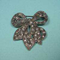 Silver Tone and Gray Rhinestone Bow Brooch or Pin, Classic Vintage