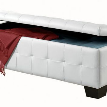 Sparkle collection white bycast vinyl upholstered ottoman storage bench with tufted seat